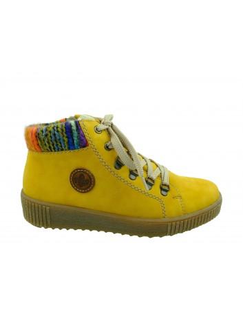 Trzewik damski Rieker M6411-68H,Kolor żółty