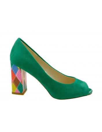 Czółenko damskie odkryte palce Sergio Leone PB135,Kolor zielony