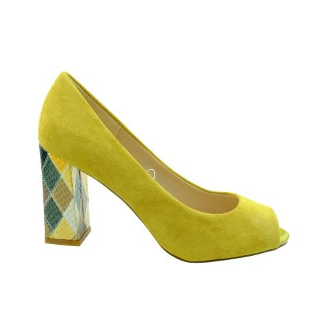 Czółenko damskie odkryte palce Sergio Leone PB135,Kolor żółty
