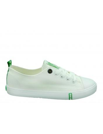 Trampki damskie BIG STAR FF274088,Kolor biały z zielonym