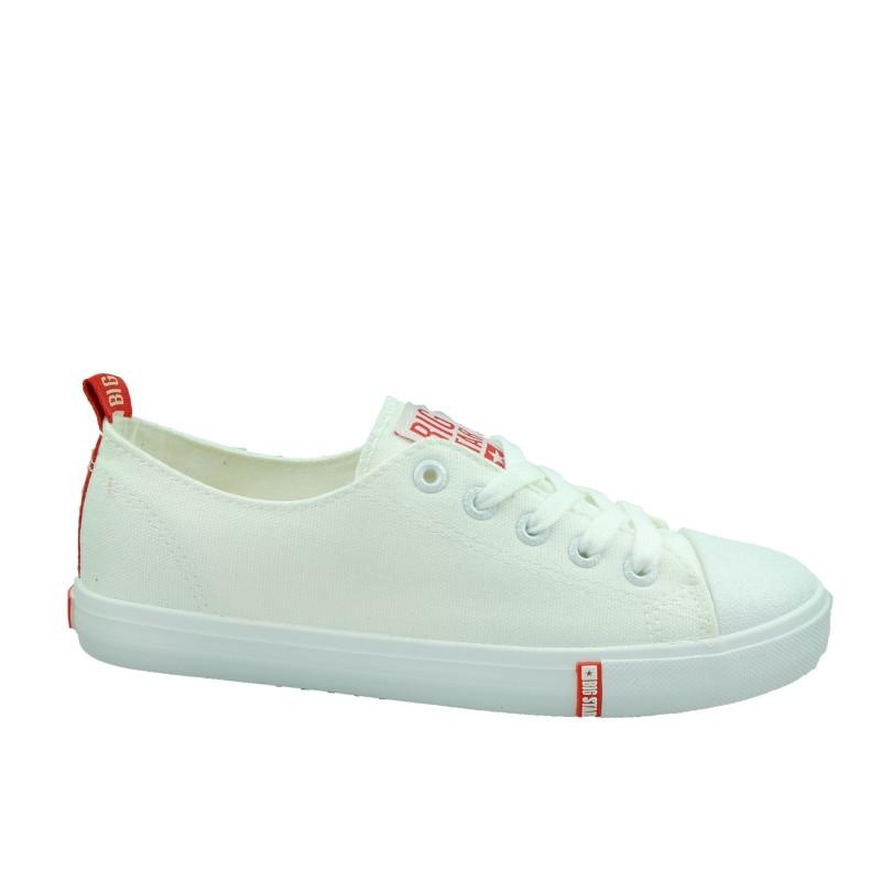 Trampki damskie BIG STAR FF274087,Kolor biały z czerwonym