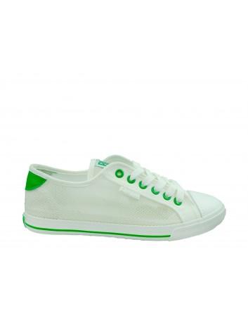Trampki damskie BIG STAR FF274445,Kolor biały z zielonym