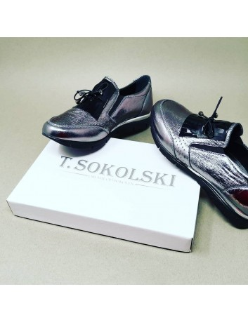 Półbut damski skórzany T.Sokolski BK SW056,Kolor platynowy
