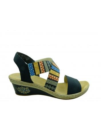 Skórzany sandał damski Rieker V2418-14,Kolor niebieski