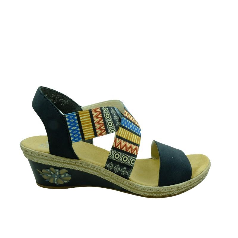 Skórzany sandał damski Rieker V2418 14,Kolor niebieski