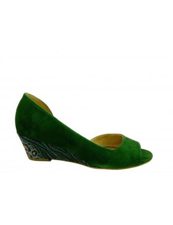 Czółenko letnie skórzane Maciejka 01304, Kolor zielony