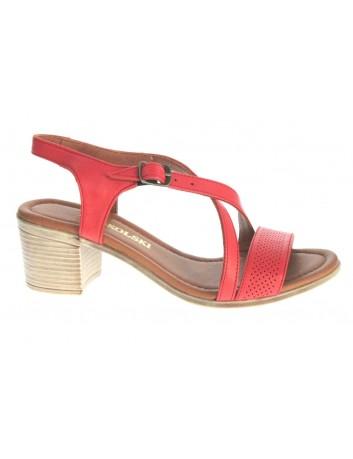 Sandały skórzane damskie ALP 2445 T.Sokolski, Kolor czerwony