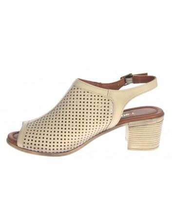 Sandały skórzane damskie ALP 2449 T.Sokolski, Kolor beżowy