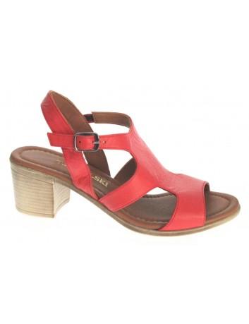 Sandały skórzane damskie ALP 2446 T.Sokolski, Kolor czerwony