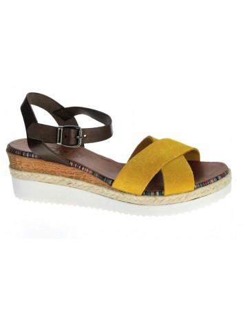Skórzany sandał damski Hiszpańska marka Porronet L-2551, Kolor żółty