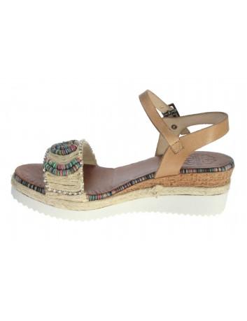 Skórzany sandał damski Hiszpańska marka Porronet L-2553, Kolor beżowy