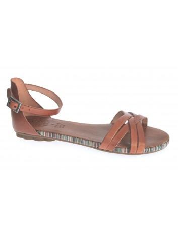 Skórzany sandał damski Porronet L-2512, zapięcie wokół kostki, Kolor brązowy
