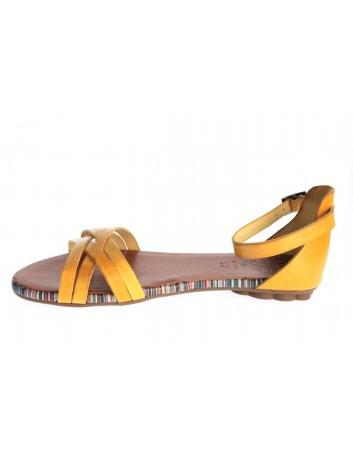 Skórzany sandał damski Porronet L-2512, zapięcie wokół kostki, Kolor żółty