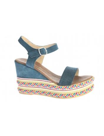 Skórzany sandał espadryl Gaia Verdi 20 lam P568 ,Kolor niebieski
