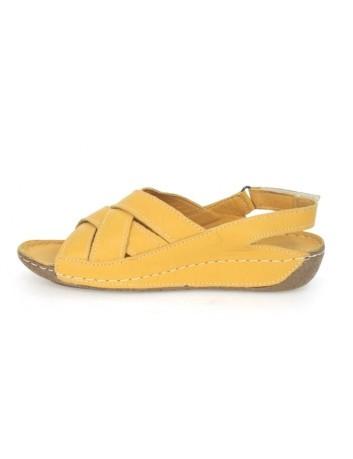 Skórzany komfortowy sandał damski T.Sokolski BK L20-04, Kolor-żółty