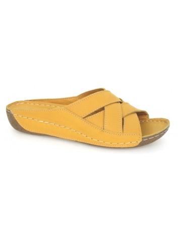 Skórzany komfortowy klapek damski T.Sokolski BK L20-05, kolor-żółty