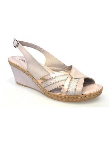 Skórzany sandał damski na koturnie Gaia Verdi GV 17 GINEV 4128NU, Kolor różowy