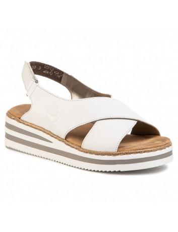 Skórzany sandał damski Rieker V0271-80 biały