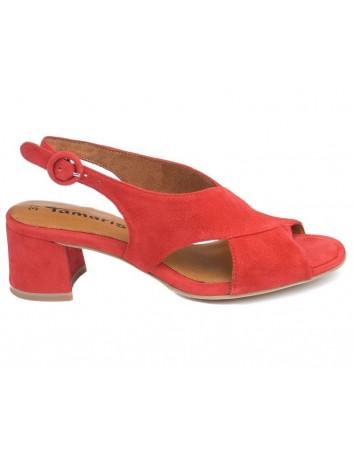 Sandał damski skórzany Tamaris 1-28357-26 czerwony