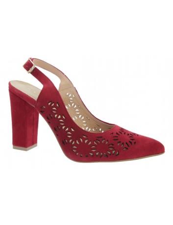 Sandał damski skórzany JUMA 2821 czerwony