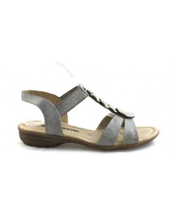 Skórzany sandał damski Remonte, Kolor szary