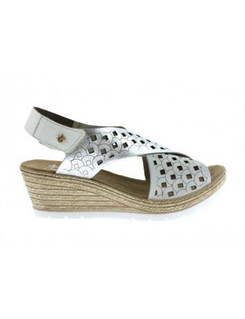 Skórzany sandał damski Rieker, Kolor biały